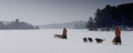 Travel by dogsled. Basswood Lake